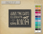 """Chalkboard """"Chalk it up"""" save the date"""