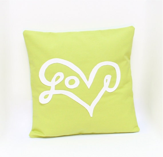 Love Pillow Cover in Celery