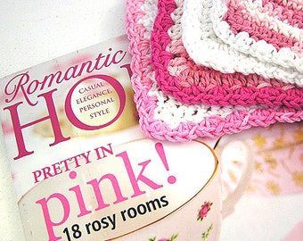 Featured In The May Issue of  Romantic Homes Magazine Hand Crocheted Pink Dish Cloths (Set of 3)