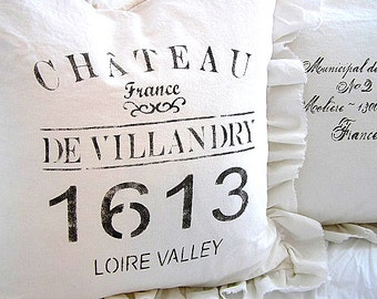 Made To Order White Linen Blend French Text  Ruffle SLIP COVER