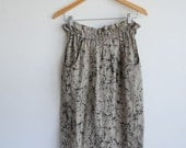 Linen marbled high waist pocket vintage skirt
