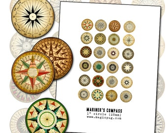 Mariner's Rose Compass 12mm circle digital collage sheet  for badge pinback button props earrings pendant necklace