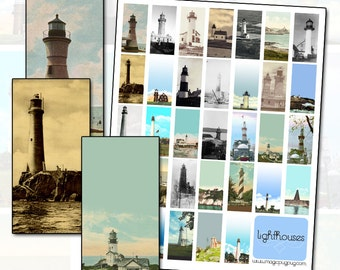Antique Lighthouses Digital Collage Sheet Domino Size 1x2 for 25mm x 50mm