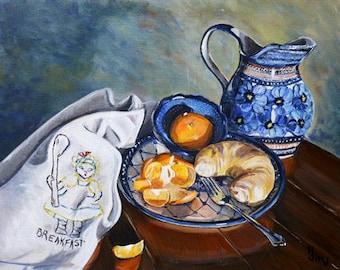 Polish Pottery, large original acrylic still life painting,  kitchen wall art 16x20 canvas painting