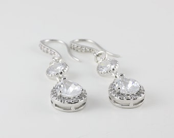 Teardrop Cubic Zirconia Earrings on CZ Ear Hooks