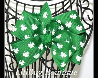 LiliBug Green Shamrock Boutique Hair Bow