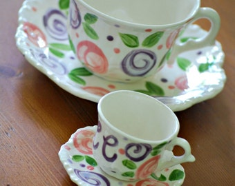 Mommy and Me tea for two matching tea cup sets. . .  Valentine's Day, Mother's Day Gift, Grandparents Day