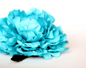 Large Peony in Bright Aqua Blue - 6 Inches -Artificial Flower, Millinery Flower - ITEM 0106