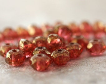 Rose Sparkles Czech Glass Beads 5x3mm Faceted Rondelle : Full 30 pc Strand Pink Bead