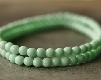 Opaque Light Mint Green 4mm Czech Glass Round Druk Bead : 50 pc Strand