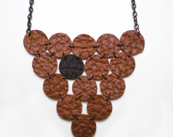 Leather Brown Polka Necklace - Leather jewelry - Textil jewelry - Polka dots