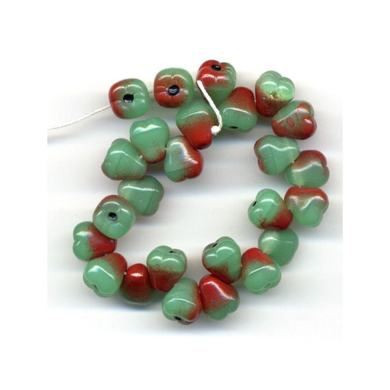 Items similar to pear fruit glass beads color red green