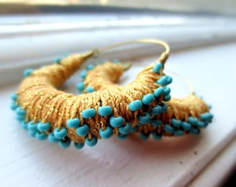 Cleopatra Gold Thread Wrapped Hoop Earrings with Turquoise Beads
