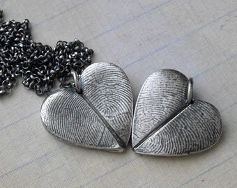 Heart Fingerprint Necklace with Two Adult Fingerprints Fine Silver on Sterling Chain