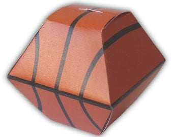 Basketball Sports Gift Box Favor Printable Color Template Digital PDF