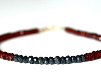 Garnet and Spinel Bracelet/Faceted Rondelles/Dainty Jewelry/Handmade Jewelry/Stacking Bracelet
