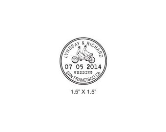 Custom Tandem Couple Riding Bicycle Wedding Passport Save the Date Rubber Stamp AD271