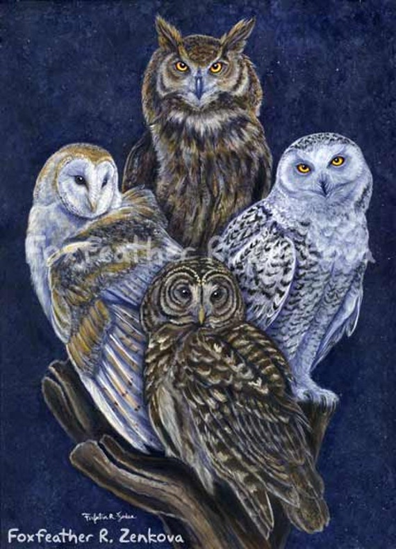 Totem Owls Painting Print Wall art bird stack Barn Owl