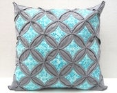 30% Off Sale Decorative Throw Pillow Cover Aqua Batik Gray Pillow Cathedral Window 18 Inch