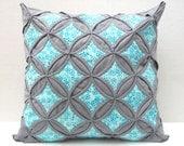 45% Off Sale Decorative Throw Pillow Cover Aqua Batik Gray Pillow Cathedral Window 18 Inch