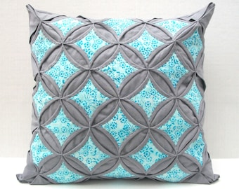 50% Off Sale Decorative Throw Pillow Cover Aqua Batik Gray Pillow Cathedral Window 18 Inch
