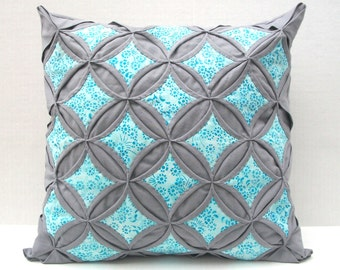 35% Off Sale Decorative Throw Pillow Cover Aqua Batik Gray Pillow Cathedral Window 18 Inch