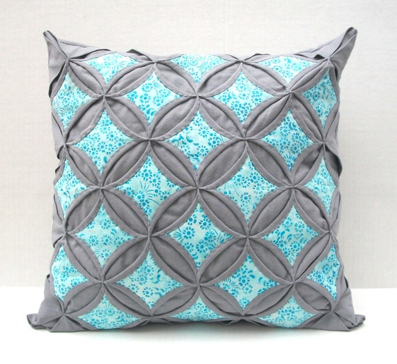Small Gray Decorative Pillow : SALE 20% Off Decorative Throw Pillow Cover Aqua Batik Gray