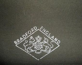 "Vintage fabric, 3.5 yds avacoda green  serge. 60"" wide.Bradford England"