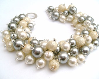 Set of 6 Bridal Jewelry, Wedding, Pearl Bridesmaid Bracelet, Ivory and Silver Gray Bracelet, Cluster Bracelet, Pearl Bracelet, Ivory Pearl