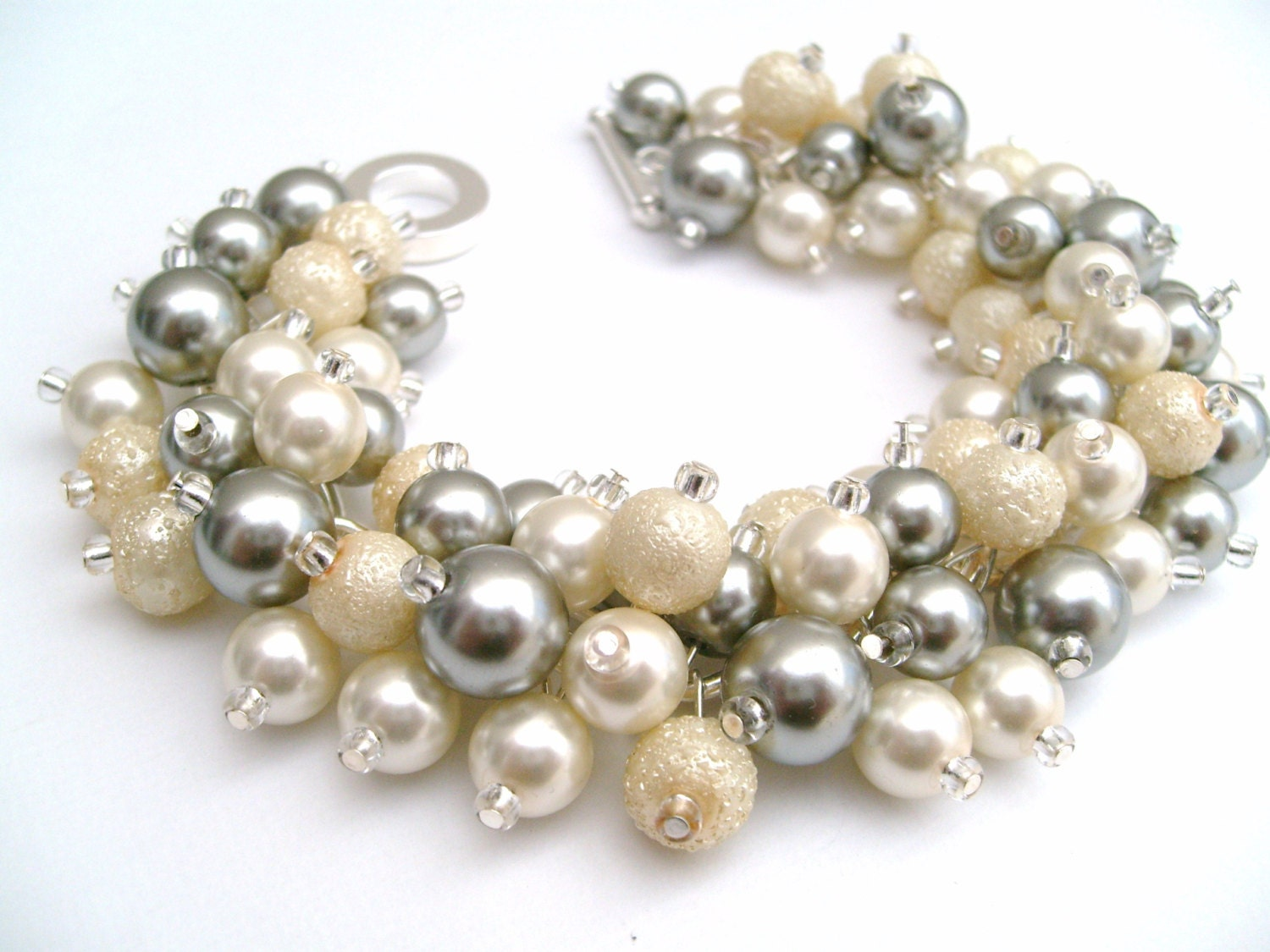 Bridal Jewelry Wedding Pearl Bridesmaid Bracelet Ivory And