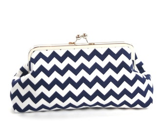 Nautical Wedding Clutch Purse/ Navy White Chevron Clutch/Navy Blue White Chevron Wedding Accessory/Chevron Purse