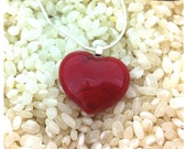 """Red Glass Heart Pendant Necklace - Sterling Silver 18"""" Chain - Gift Boxed"""