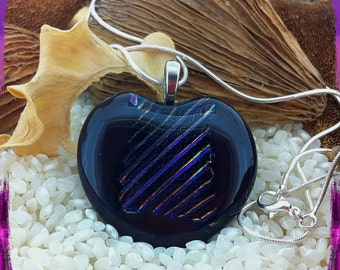 Large Glass Heart Pendant Necklace Dichroic and Art Glass Fused Layers - Very Dark Plum & Deep Purple on a Silver Chain and Gift Boxed.