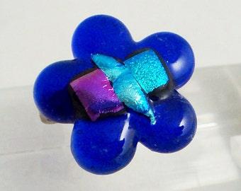 Fused Glass Pin Brooch  .. Cobalt Blue Flower.... Art & Dichroic Glass