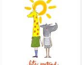 Children's Wall Art Print - Let's Pretend - Kids Nursery Room Decor
