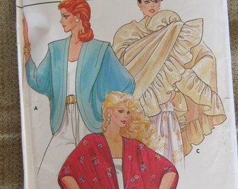 Butterick vintage 80s misses shrug cover up shawl jacket sewing pattern small women