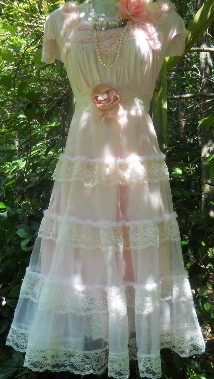 Pink lace dress tiered ruffles fairytale rose boho vintage for Vintage sites like etsy