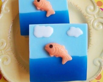 Fish Soap Bar - Novelty Soap, Gift For Him, Fishing Soap, Ocean Breeze Scent, Goldfish Soap, Kids Soap, Clouds Soap, Soap Favors, Boyfriend