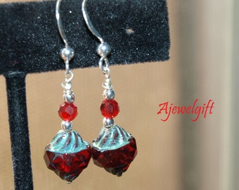 Stunning Antique Finished Red Earrings 13023