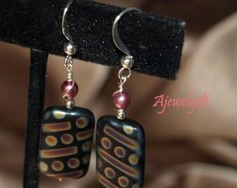 Striking Black and Dichroic Glass Earrings 13002