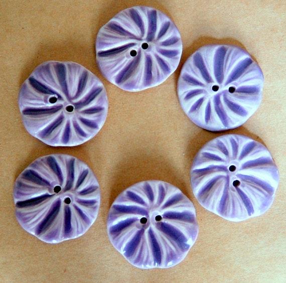 6 Handmade Porcelain Buttons - Lavender Flower Buttons - Ceramic Buttons
