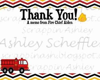 Firefighter. Fire truck. Printable. Fire truck thank you. Thank you. 4x6. thankyou.  Printable Thanks. Flame. Fire party.
