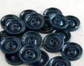 """2 Dozen Vintage 1930's Dark Teal Blue Plastic Buttons-VBP44 - 5/8"""""""