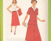 Sewing Pattern Vintage Simplicity 8927 misses dress unlined jacket sleeveless pleat stitched frontsize miss 14 1979