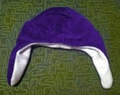 SALE indigo purple cuddle velveteen fleece punk AVIATOR ear flap HAT anime cosplay Man or Woman