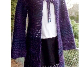 Long Cardigan Sweater Homespun Yarn Crochet Pattern pdf
