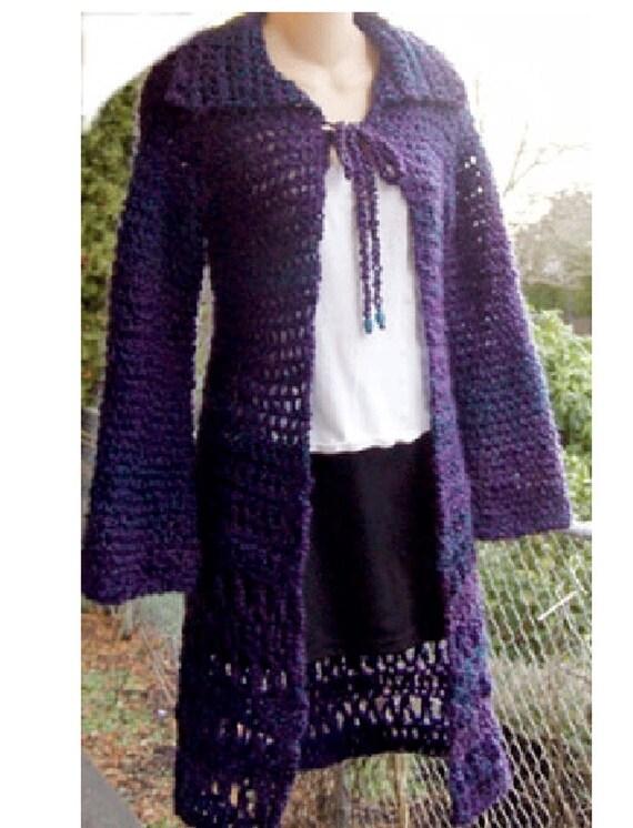 Long Cardigan Sweater Homespun Yarn Crochet Pattern By