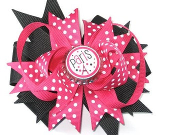 Boutique Pink Black Paris Eiffel Tower Bottle Cap Hair Bow Clip