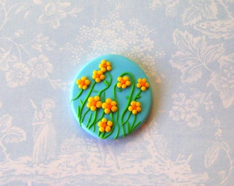 Garden Brooch - Yellow Flowers over blue sky - Polymer Clay