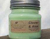 Custom Listing - CLOVER and ALOE SOY Candle - Highly Scented - Green, Fresh, Clean Fragrance